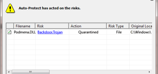 Podmena.Dll as detected by Symantec