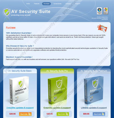 Web site of AV Security Suite