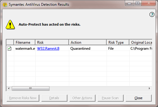 W32.Ramnit.B detection