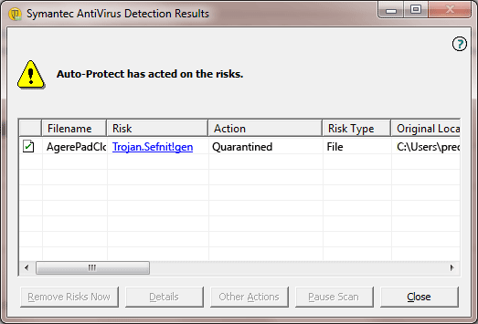 Trojan.Sefnit!gen detection