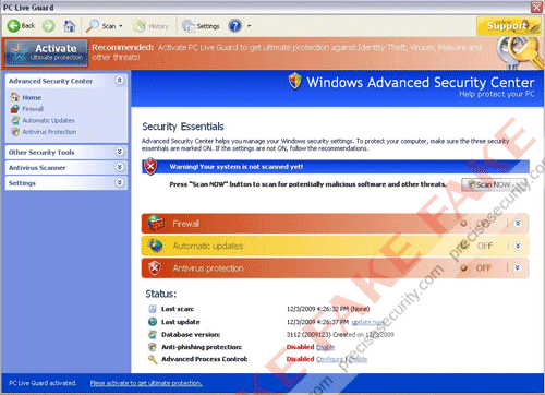 Fake Windows Advanced Security Center