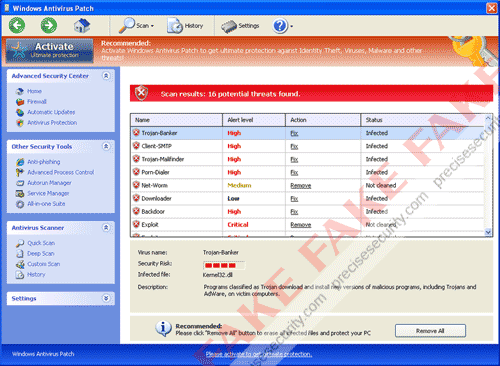 Fake Windows Antivirus Patch