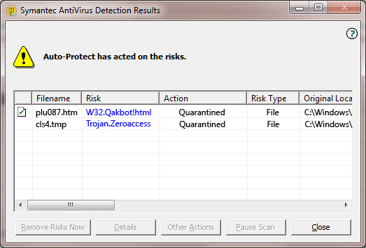 W32.Qakbot!html - Virus Solution and Removal
