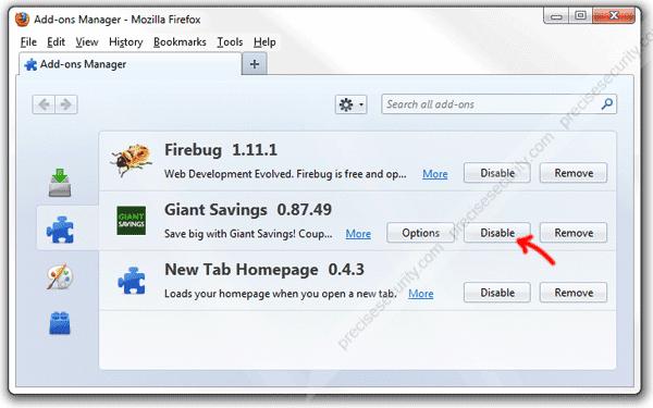 Giant Savings Add-on in Firefox