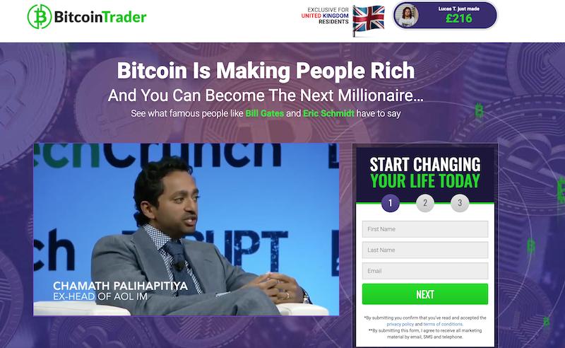 Bitcoin Trader Homepage